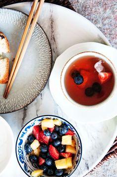 >>>>Jane Through The Seasons: Steeping: Hibiscus Fruit Iced Tea Fruit Tea Recipes, Lapsang Souchong, Fruit Ice, Yerba Mate, Iced Tea, Skewers, Hibiscus, Acai Bowl, Blueberry