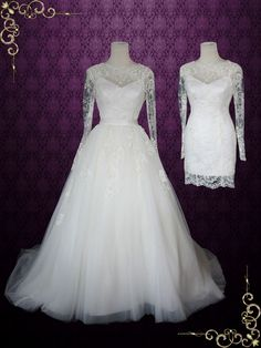 Convertible Lace Wedding Dress with Open Back and Long Sleeves - would love this as a long sheath dress instead of the short one