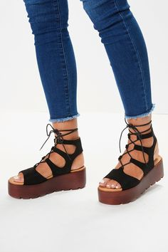Step out in style this season in Misspap's women's shoes collection. Strappy Sandals Heels, Flatform Sandals Outfit, Wedge Sandals, Shoes Heels, Sock Shoes, Cute Shoes, Platform Stilettos, High Heels, Olivia Buckland
