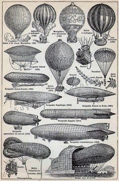 Antique French Dictionary Page - Aviation - Aeronautic, Hot Air Balloon, Zeppelin - Original Engraved Lithograph 1937 - Steampunk Vintage Arte Steampunk, Steampunk Airship, Zeppelin, Dirigible Steampunk, Transportation Chart, French Dictionary, Sepia Color, Art Graphique, Hot Air Balloon