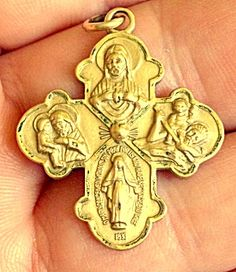 $69 Vintage 12kt gf Scapular 4 way Cross Medal Pendant Theda