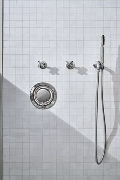.25 is the ultimate in utilitarian elegance: A simple and understated design that is equally functional and beautiful. Classic Bathroom, White Bathroom, Bathroom Cabinetry, Contemporary Bathroom Designs, Waterworks, Control Valves, Bath Rugs, Bathroom Accessories, Grey And White