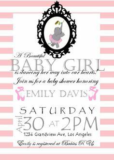 pink elephant ballerina baby shower invitation