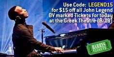 #JOHNLEGEND #GreekTheatre #AllOfMeTour  Use Code: LEGEND15   08-18-2014 @ 7:30PM   #LosAngeles #BarrysTickets #California #Music #Tickets