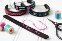 Embroidery like youve never seen it! This kit includes everything you need to stitch your very own leather bracelet. Its an easy and fun project even if you have never stitched before. The kit makes stitching simple. Each leather bracelet comes with the holes pre-cut, so all you