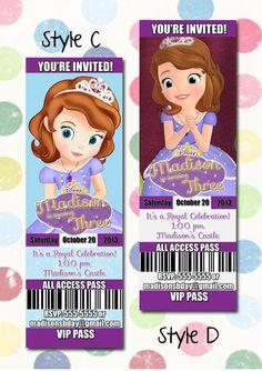 Sofia the first Birthday Party Invitation Ticket Style You Print Digital File Disney