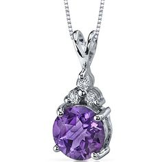 Refined Class 175 carats Round Shape Sterling Silver Rhodium Nickel Finish Amethyst Pendant * Be sure to check out this.