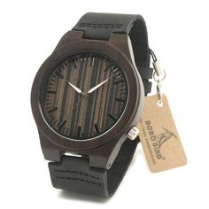 Bobo Bird Brand Designer Wooden Watches Wood Dial Newest Wood Case Soft Leather Band Mens Watch