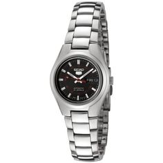 Seiko Womens SYMC27 Seiko 5 Automatic Black Dial Stainless Steel Watch *** You can find out more details at the link of the image.Note:It is affiliate link to Amazon.