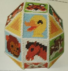 Animal Baby Ball Toy Plastic Canvas Needlepoint Kit Vintage 70s Handmade Hand Needle Work Pattern - Awesome Unique Shower Gift. $30.00, via Etsy.