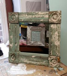 Handmade from antique re claimed lumber, a mirror and a frame of shiplap with antique tin, Beach Uniques Handmade Cabinets, Tin, Mirror, Antiques, Beach, Frame, Furniture, Home Decor, Antiquities