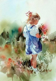 """""""Mommie's Bouquet"""" (Aidyn, the Artist's granddaughter) By Carl Purcell, from US (b.1944) #watercolorarts"""