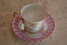 1950s Unmarked Iridescent Pink And White China Cup And Saucer With Perforated Or Pierced Edge And Gold Trim