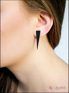Hey, I found this really awesome Etsy listing at https://www.etsy.com/listing/175286949/black-post-earrings-triangle-earrings