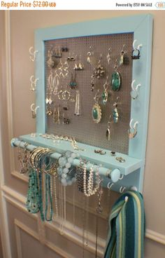 NO ChristmasDelivery SALE Beautiful Turquoise Wall Mounted Jewelry Organizer with a Bracelet Bar, Wall Organizer, Jewelry Display, Necklace