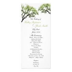 Spring Trees Wedding Program Custom Rack Card