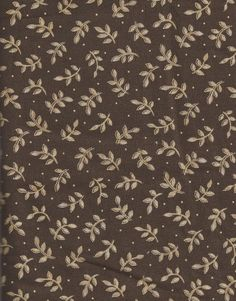 Gold Leaf on Brown Cotton Fabric, 1/2 yard, More Yardage Available
