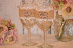 burlap wedding glasses, mr and mrs glasses bride and groom toasting flutes, rustic wedding