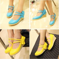 New Sweet Women's Casual Round Toe Candy Color Wedge Classic Bowknot Shoes 5 Colors