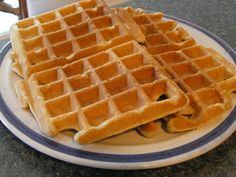 High Protein Whole Wheat Waffles -   Recipe:  2 1/4 c whole wheat flour, 1 1/4 tsp baking powder, 1 1/4 tsp baking soda, 1 tsp salt, 1 tbsp protein powder (opt.), 3 tbs sugar (opt.).  Stir together.  Add in 2 eggs (beaten), 1 cup milk, 1 cup yogurt, 1 tsp apple cider vinegar, 1/2 c butter (or oil), 1 tsp vanilla.  Mix all together until blended.  Batter will be thick but if not fully blended add a splash of milk.  Cook in your preheated waffle iron as usual.