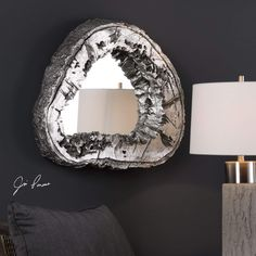 Woodrum Tree Mirror Uttermost in Accent Mirrors. Rustic with a contemporary edge, this sliced tree trunk replica is finished in a metallic silver leaf accented with a light gray wash. Silver Wall Mirror, Wood Mirror, Mirror Mirror, Mirror Ideas, Contemporary Wall Mirrors, Rustic Contemporary, Rustic Modern, Modern Art, Home