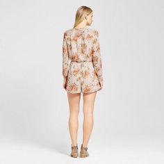 Women's Floral Long Sleeve Romper - Mossimo Pink Xxl
