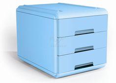 MINI CASSETTIERA colore azzurro 19P3BL Mini Cassettiera 3 cassetti a scorrimento, silenziato e blocco a fine corsa, accostabili e sovrapponibili stabilmente fra loro, grazie alle corsie integrate. Formato utile dei cassetti colore 15,5x23x4 cm. Dimensioni Cassettiera: L 17,7 x P 25,4x H 17. Colore Azzurro