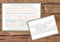 Coral Burlap Wedding Invitation via Etsy.