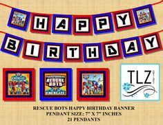 INSTANT DOWNLOAD Transformers Rescue Bots Birthday by TLZDesigns, $9.00