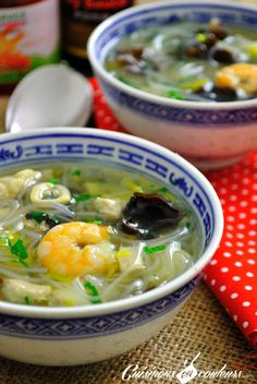 Chinese Soup: Fish, Shrimps, Vermicelli and lots of good things . - Cook in Colors - Chinese Soup: Fish, Shrimps, Vermicelli and lots of good things … - Soup Recipes, Snack Recipes, Cooking Recipes, Healthy Snacks, Healthy Recipes, Asian Soup, Asian Recipes, Ethnic Recipes, Chinese Recipes