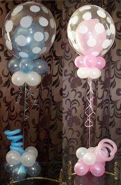 Deco bubble polka dot pink an blue centerpieces. Great for Baby Showers.