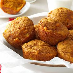 Apple Pumpkin Muffins Recipe- Recipes The combination of apples and pumpkin makes this recipe a perfect treat for cool autumn day. The muffins are great for breakfast or dessert.Beth Knapp, Littleton, New Hampshire Pumpkin Muffin Recipes, Apple Recipes, Fall Recipes, Baking Recipes, Healthy Recipes, Yummy Treats, Delicious Desserts, Yummy Food, Cupcakes