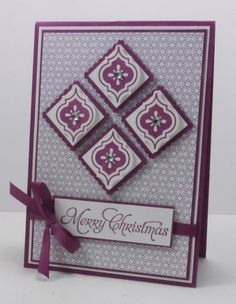 Modern Mosaics stamp set, More Merry Messages stamp set,  Christmas Card, mosaic punch,