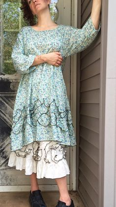 Blue Floral Petal Tunic Dress XL by sarahclemensclothing on Etsy