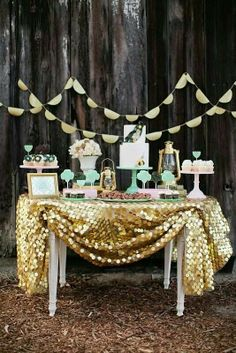 Sparkly Gold Sequins Table Linen for Dessert Table! (WFL Paillette Gold Table Linen Overlay) - With Beau & Arrow Events & The Sweet Society
