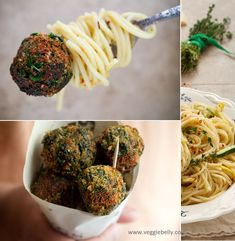 Spaghetti with Zucchini and Crispy Fried Spinach Parmesan Balls | Veggiebelly