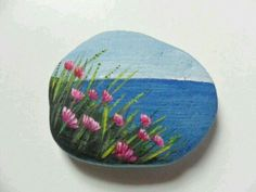 Seaside thrift flowers - miniature painting on lovely frosted white English sea glass Seaside thrift Pebble Painting, Pebble Art, Stone Painting, Stone Crafts, Rock Crafts, Arts And Crafts, Rock Flowers, Beach Flowers, Rock And Pebbles