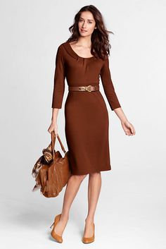 Women's 3/4-sleeve Pleat Front Drapey Ponté Sheath Dress from Lands' End