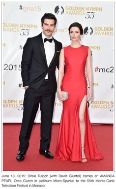 #BitsieTulloch carries an #AmandaPearl Octo Clutch in Platinum Micro-Sparkle to the 55th Monte-Carlo #TelevisionFestival in #Monaco.