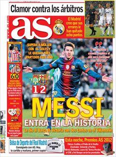 Messi entra en la Historia (Una vez más). Portada del diario AS.                                                                                                                                                                                 Más