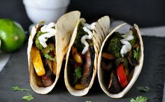 With marinated portobellos, homemade taco seasoning and effortless chimichurri sauce, these fajitas are a savory bomb of flavor that will taste like they took all day to make