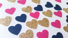 Hot Pink Navy Blue and Gold Glitter Heart Confetti by MintyCheeks