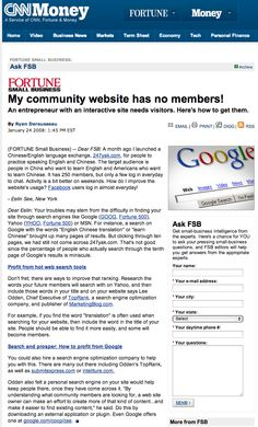Fortune magazine - My community website has no members! TopRank Online Marketing CEO Lee Odden is quoted in this article on how to grow online communities.
