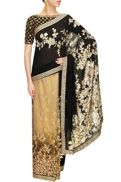 This Black and beige Sabyasachi saree is in tulle net and georgette fabric with aariwork.This Sabyasachi saree is on SALE for a limited period. Pakistani Outfits, Indian Outfits, Indian Clothes, Sabyasachi Sarees, Indian Sarees, Indian Costumes, Stylish Sarees, Designer Sarees Online, Jumpsuit Pattern