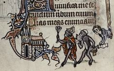Apes Parodying the Church. Psalter. Ghent (Flanders). ca. 1320-1330. Oxford, the Bodleian Library, Ms. Douce 6, fol. 17v. fig5-Oxford-Bodleian-Library-Ms-Douce-6-fol-17v.jpg (591×369)