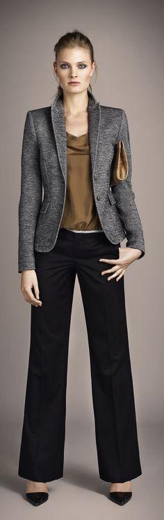 Oui ~ black wide leg pant, charcoal blazer, sienna blouse