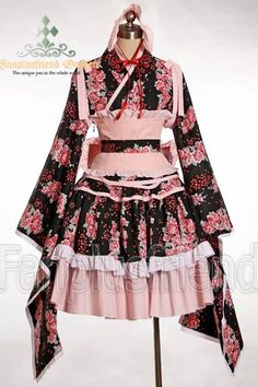 I like the kimono style sleeves and little corset. The rest is a bit busy.