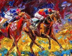 Horse race art painting equestrian colorful textrued by Debra Hurd -- Debra Hurd