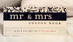 Romantic. Clean. Selfless. The perfect recipe for a married coupon book that my busy husband and I need. Find it in the Hobby Lobby greeting card section.