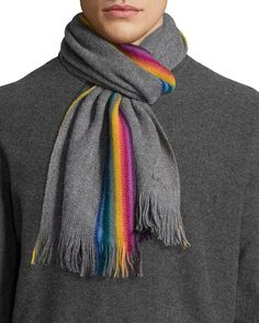 $125, Paul Smith Rainbow Stripe Wool Scarf. Sold by Neiman Marcus. Click for more info: https://lookastic.com/men/shop_items/326748/redirect